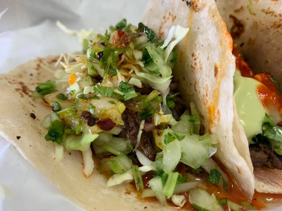 Tacos Cachete on Flour Tortilla - Taqueria Don Omar - Picture Taken by For Foodies By Foodies